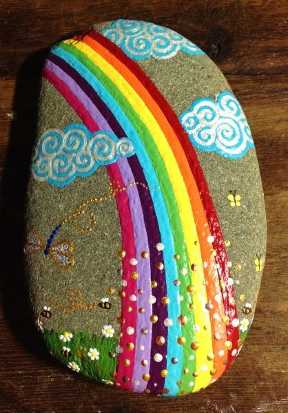 Painted rock by SoFire Créations on facebook
