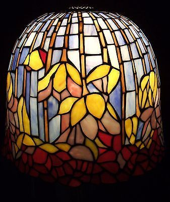 Vintage tiffany style stained glass lamp shade pond lily lotus 4
