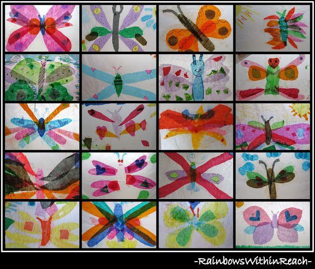 Tissue Paper Butterfly Bulletin Board (RoundUP via RainbowsWithinReach)