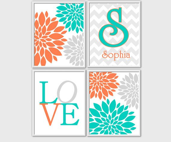 Coral Baby Nursery Wall Art Turquoise Teal Gray Flower Burst LOVE Baby Nursery Prints Girls Room Decor Customize Chevron 4 PRINT SET