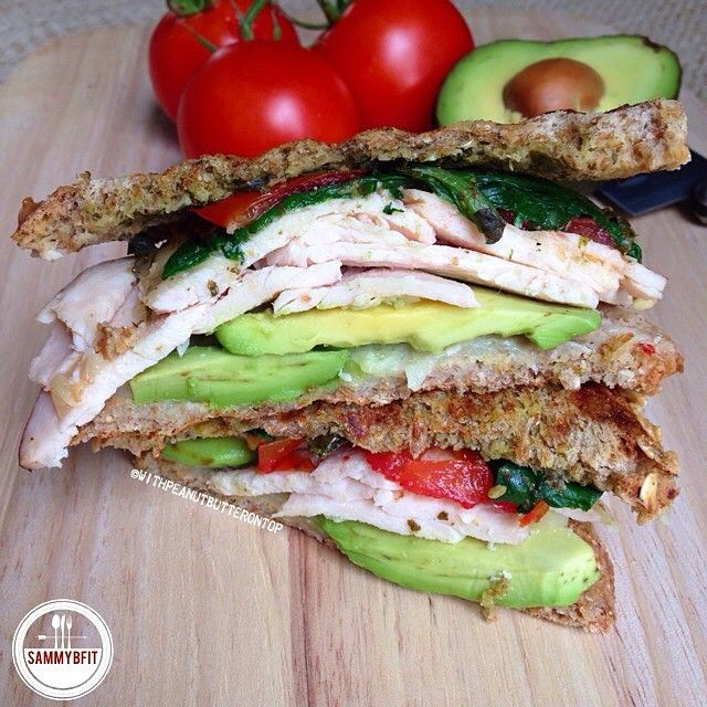 Grilled Chicken Pesto Avocado Sandwich BY:@WithPeanutButteronTop •••••  @WithPeanutButteronTop ••••• Ingredients: 2 slices Ezekiel, or choice 1 tsp. pesto sauce [I use Bellino] 1/4 tsp. minced garlic Baby spinach, cooked until wilted 2 slices tomato 2 oz cooked chicken breast Mozzarella cheese, or choice Avocado, I used 1/4 . Directions: Heat grill pan over medium-heat & spray with non-stick cooking spray. || On one slice of bread, spread minced garlic. One the other slice, spread the pe...