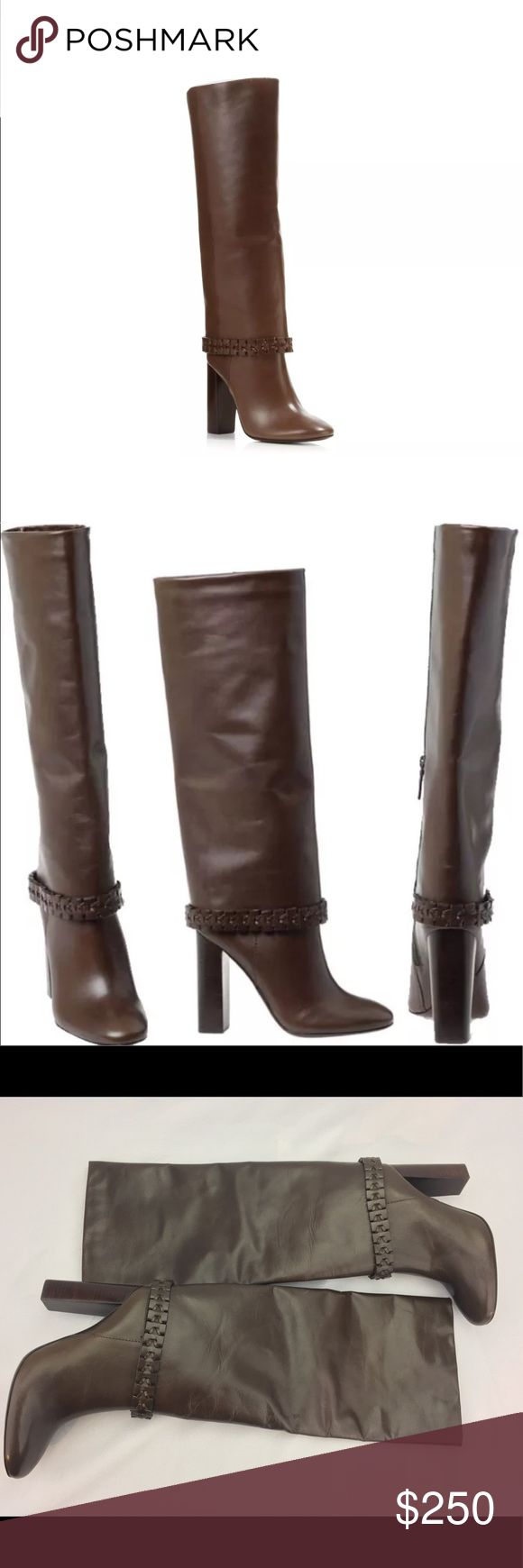 """Tory Burch Sarava Tall Leather Brown Boots 8 NEW New without box - store display model. May show signs of being """"tried"""" on in store - minor scuff, shelf wear, or sticker residue. PLEASE TAKE A LOOK AT ALL PHOTOS.   AUTHENTIC TORY BURCH """"SARAVA"""" 110MM BOOT  COLOR: GLABRA NUT   SIZE: 8 WOMEN'S  GALLEON LEATHER Tory Burch Shoes Winter & Rain Boots"""