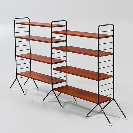 """BOKHYLLA  Hansa"""", IKEA, 1950-tal.  Åtta mahognyfanerade gavlar. Svartlackerat stålrörsstativ.   (460×460)"""