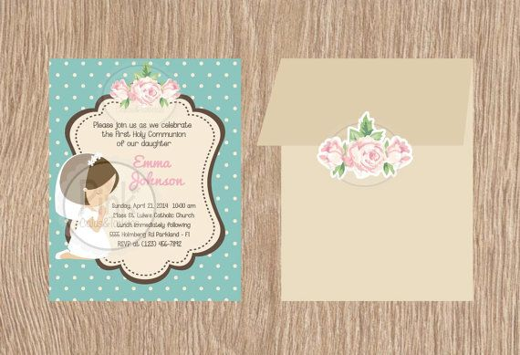 First Communion Invitations  Each card by PinkPaperStudioMiami