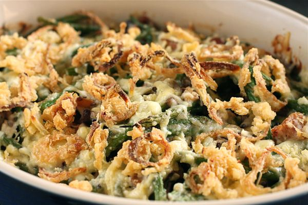 Bacon and Cheddar Green Bean Casserole with Crispy Shallots