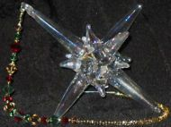 Handblown Glass Star with Swarovski Crystals & Beaded Cord (Gold, Red, Green)