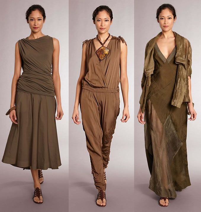 Earthy tones and flowing fabrics from Donna Karen's Casual Luxe 2012 Spring Collection