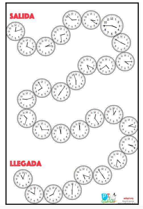 Repasa las horas con el juego matemático: ¿Qué hora es? Jugadores: 2 o más jugadores. Instrucciones: El alumno tira el dado y cuenta las casillas, cada reloj representa una casilla. El alumno tendrá que decir la hora que es, si no lo acierta retrocede tiene una penalización retrocediendo dos casillas Más