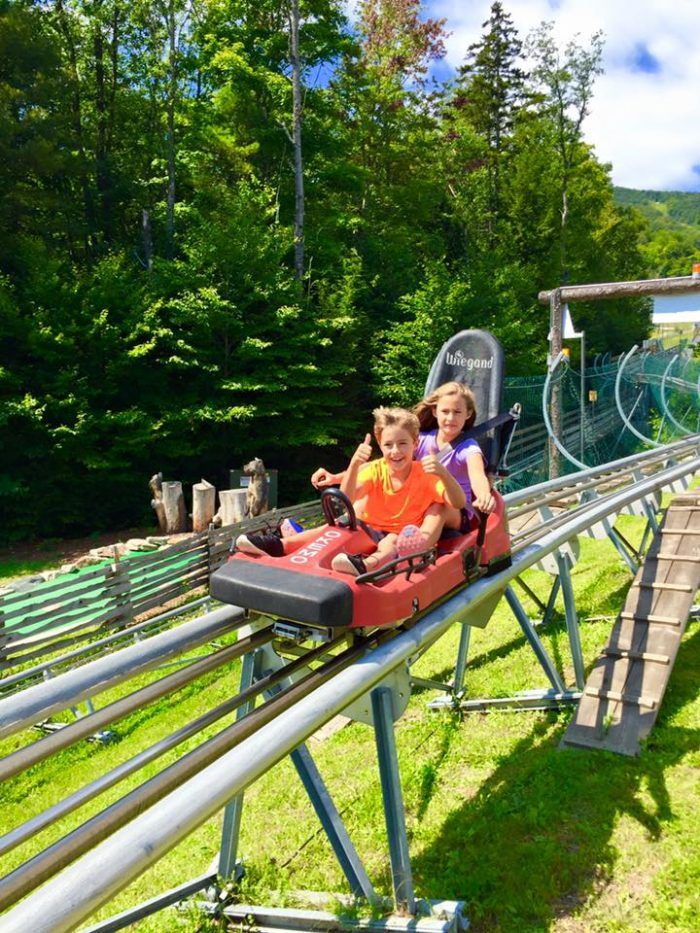 The Timber Ripper Mountain Coaster at Okemo in Ludlow, Vermont will give you a wild ride.