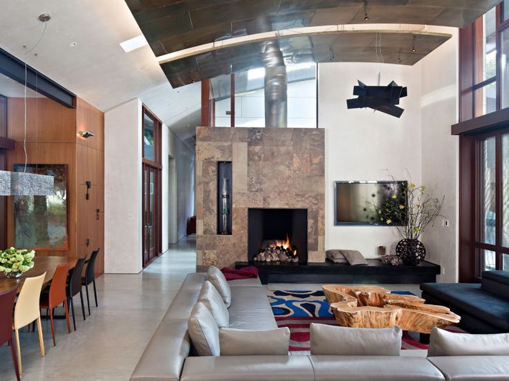 Architecture, Lovely Saratoga Creek House Including Living Room With White Wall And Transparent Glass Wall Featuring Fireplace With Marble M...