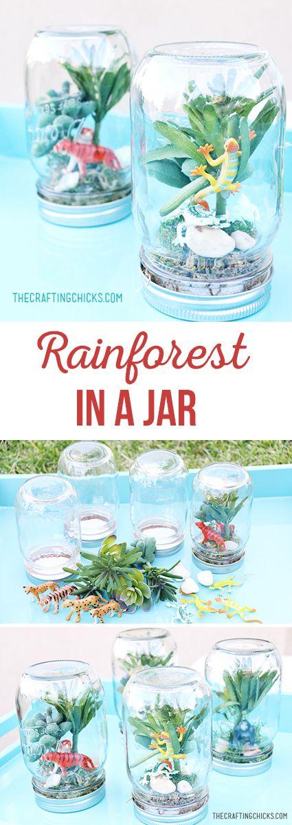 Rain Forest in a Jar via @craftingchicks