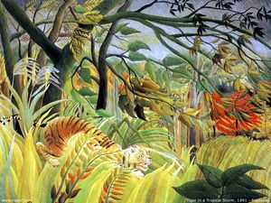 Tiger In A Tropical Storm Surprised  Henri Julien Rousseau