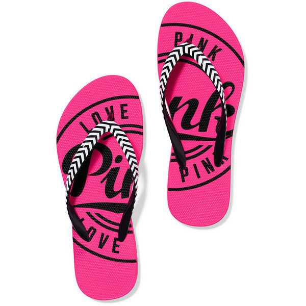 PINK Flip-Flops ($17) ❤ liked on Polyvore featuring shoes, sandals, flip flops, blue, blue shoes, blue sandals, beach shoes, pink sandals and beach footwear