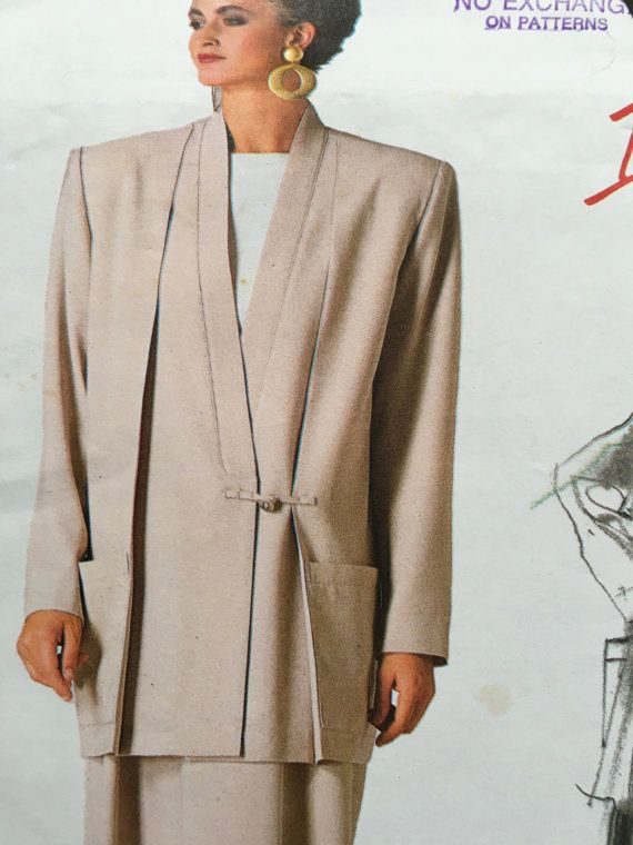 Vogue 1854 Issey Miyake Women's Jacket Skirt Pants Sewing 1980s shoulder pads, power dressing,  Etsy weseatree patterns 1980s