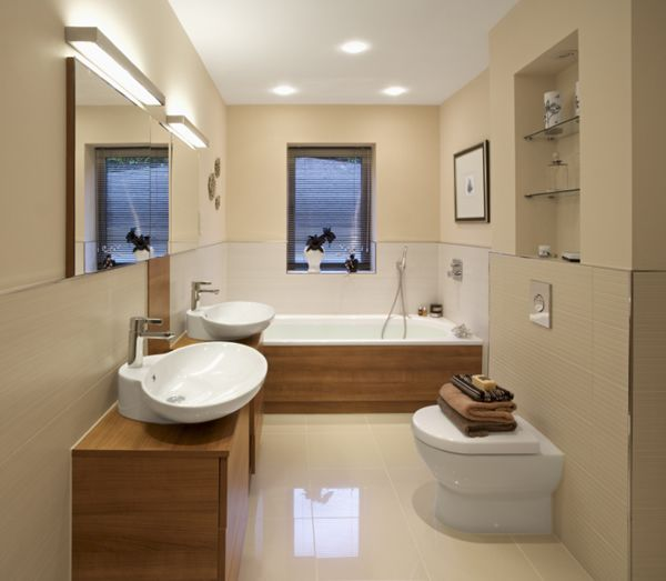 Shell shaped double #vanity #basins for this contemporary small bathroom. #bathroom