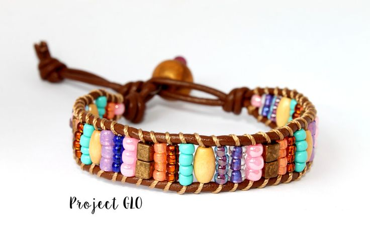 Leather Wrap Bracelet BrownPink di Project GLO su DaWanda.com
