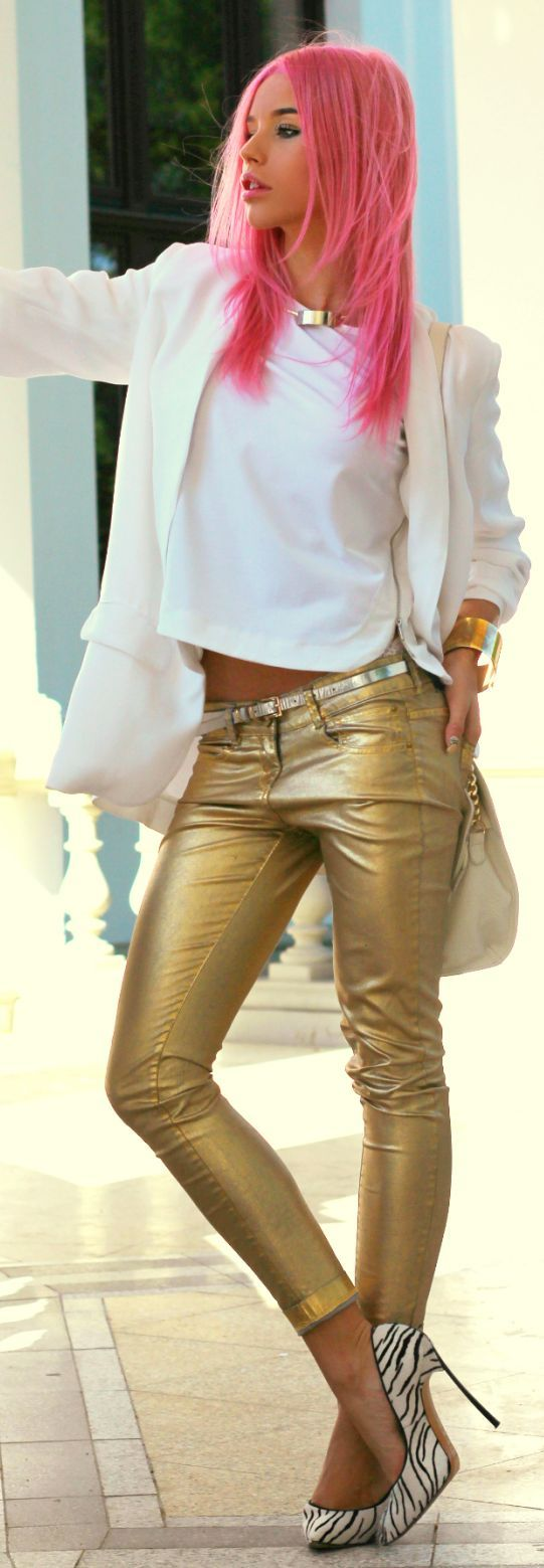 Carmen Grebenisan Golden Skinnies Outfit Idea  www.puddycatshoes.com