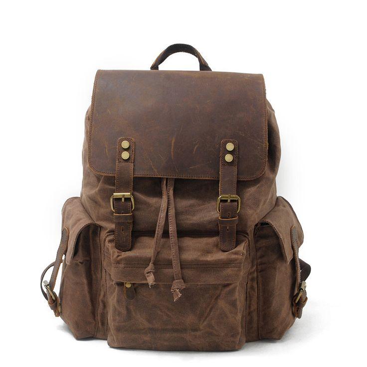 Waxed Canvas Leather Backpack Rucksack School Backpack Hiking Travel Backpack AF42