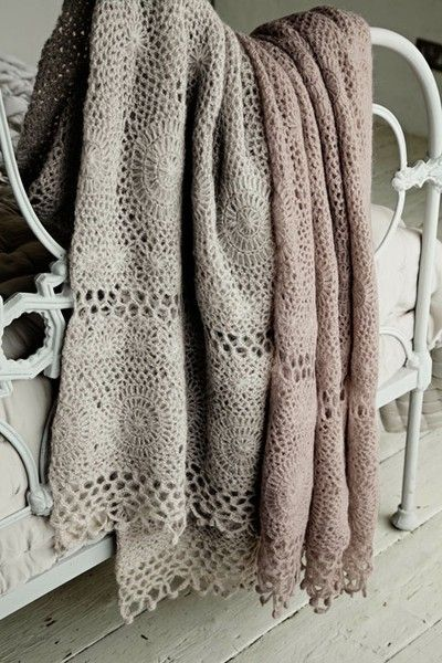 crocheted throws.