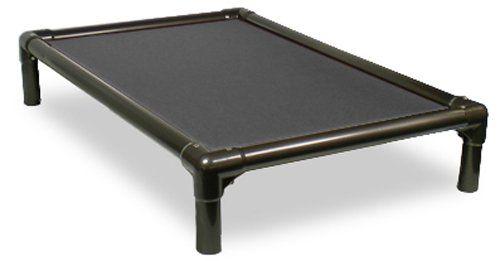 Kuranda Walnut PVC Chewproof elevated Dog Bed - Large (40x25) - Cordura - Smoke - indoor outdoor use.