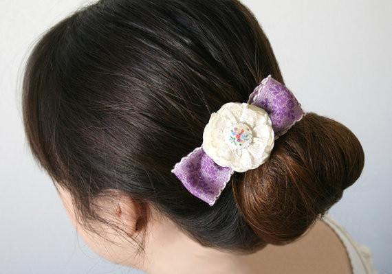 Flower Girl Hair Barrette - Purple Ribbon Hair Bow with Ivory ...