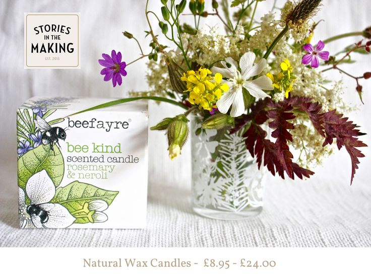 Beefayre Natural Wax Candles with  artist designed glass pots www.storiesinthemaking.co.uk