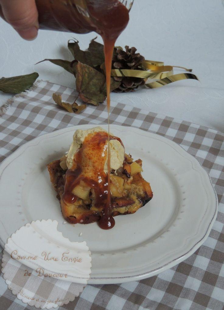 Brioche perdue foodista challenge #35 Brioche, glace vanille, sauce caramel beurre salé, pomme poire sautées