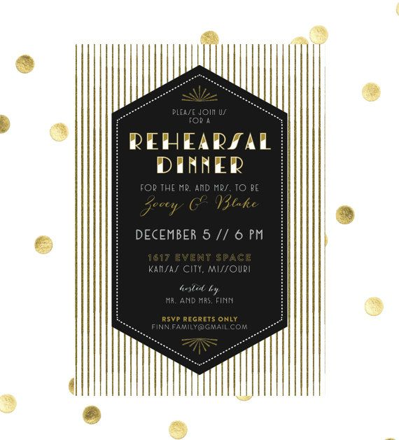 Art Deco Diamond Rehearsal Dinner Invitation // DIY Printable 5x7 // Gatsby Invitation, Old Hollywood Glamour, Art Deco Wedding