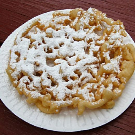 Funnel Cakes 1. 2 & 2/3 Cups All Purpose Plain Flour. 2. 1/4 Cup Granulated Sugar. 3. 2 Teaspoons Baking Powder. 4. 1 Teaspoon Salt. 5. 2 Eggs. 6. 2 Cups Milk. 7. 1 Teaspoon Vanilla Extract. Vegetable Oil For Frying. Confectioners Powdered Sugar For Sprinkling.