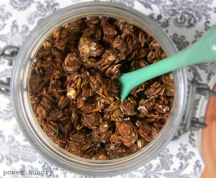 How to Make High-Protein, Low-Sugar Granola! You can do any variation--this one is made with chocolate vegan protein powder, cacao nibs and coconut. YUM!!!