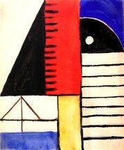 ca 1935, Héctor Ragni: Composition. Tempera & pencil on paper 8½ x 7 in (21,6 x 17,8 cm).