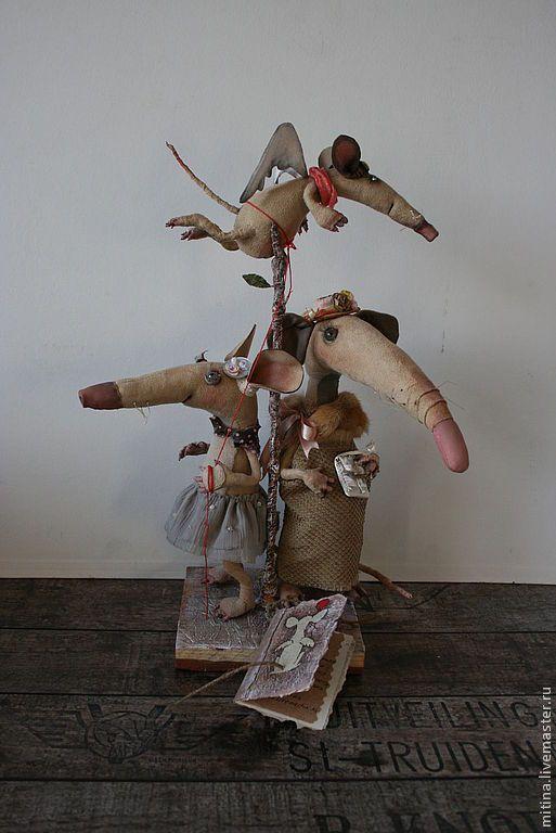 """Купить Авторские куклы: """"Семейство крыс на прогулке"""" - бежевый, крысы, Крыски, семейство крысок"""