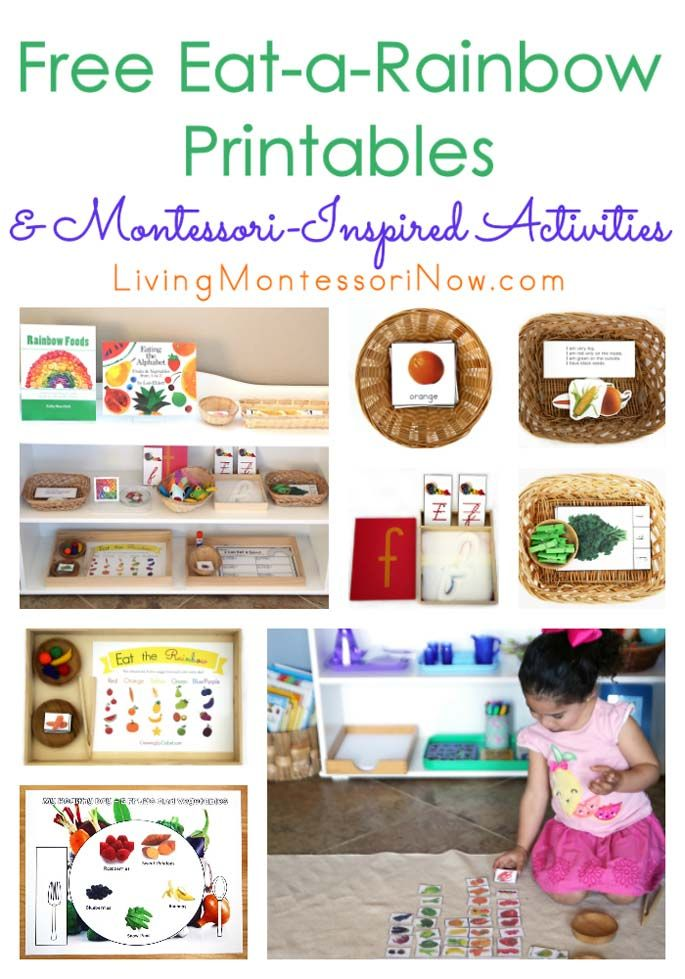 Perfect for a healthy nutrition unit, this post contains lots of free eat-a-rainbow printables & Montessori-inspired activities for preschool - first grade.