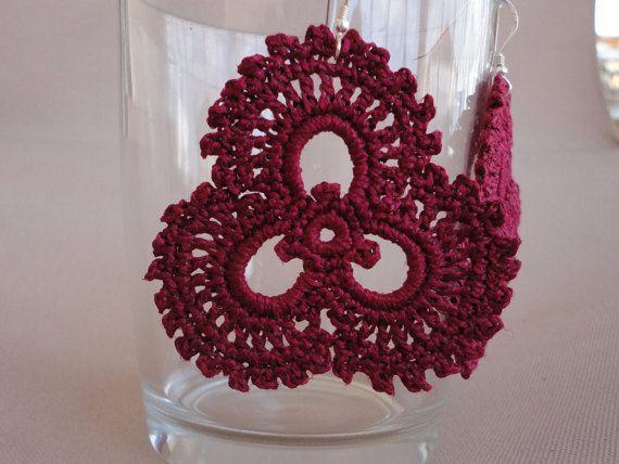 crochet three petals earrings