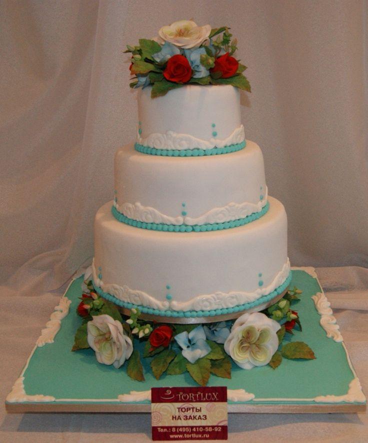 "Свадебный торт в стиле ""Тиффани"".Вес 10 кг."
