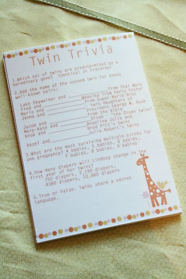 Twin Trivia game for baby shower. I'm thinking of doing something similar as a 1st birthday party activity.