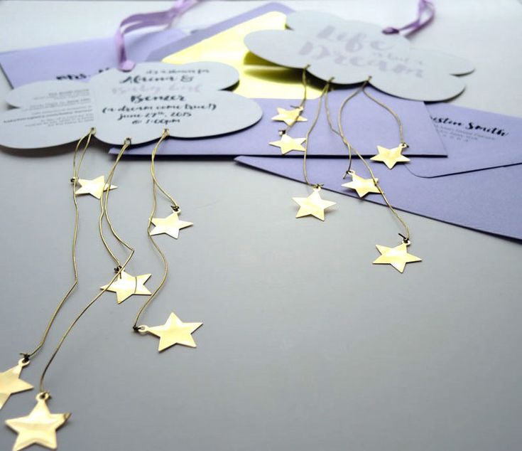 Push the envelope and build anticipation for your next baby shower or birthday party with our Raining Stars mini-mobile invitation! Ready to hang right out of the envelope, these dreamy mobiles serve a purpose by displaying party details on the reverse.