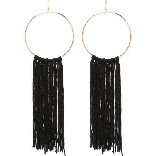 Fringe Hoop Earrings ($24) ❤ liked on Polyvore featuring jewelry, earrings, accessories, orecchini, hoop earrings, earrings jewelry, bebe, bebe jewelry and fringe earrings