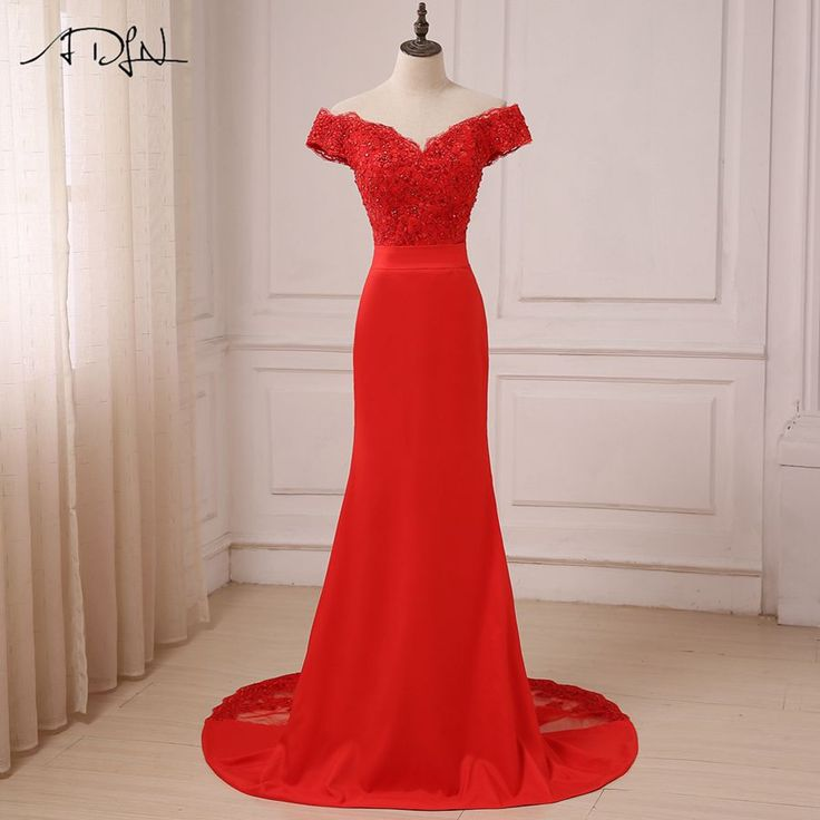 ADLN Red Sexy Evening Dress 2017 Cheap Off The Shoulder Beads Long Mermaid Formal Party Gowns Robes De Soiree New Arrival