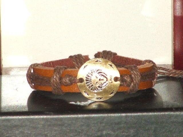 Vintage Style Adjustable Leo Cow Leather Bracelet #Handmade #leatherfashion