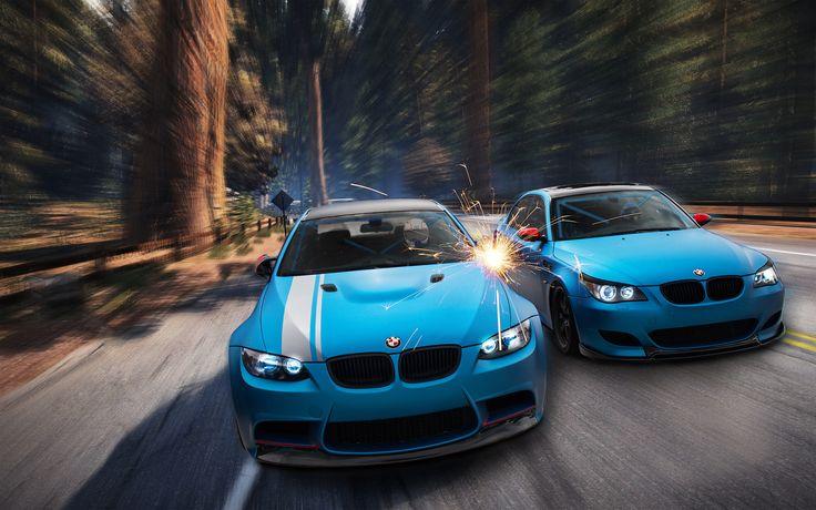 Photos BMW M3 E92 M5 E60 2 Light Blue 3D Graphics Front automobile