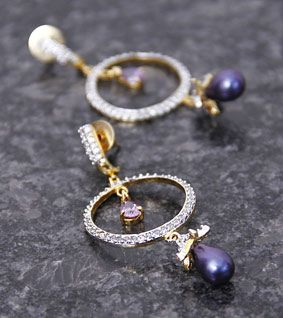 Embellished Round Earrings with Purple Drop
