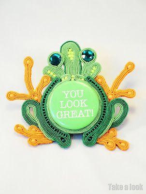 frog brooch soutache sutasz by TakeaLook: