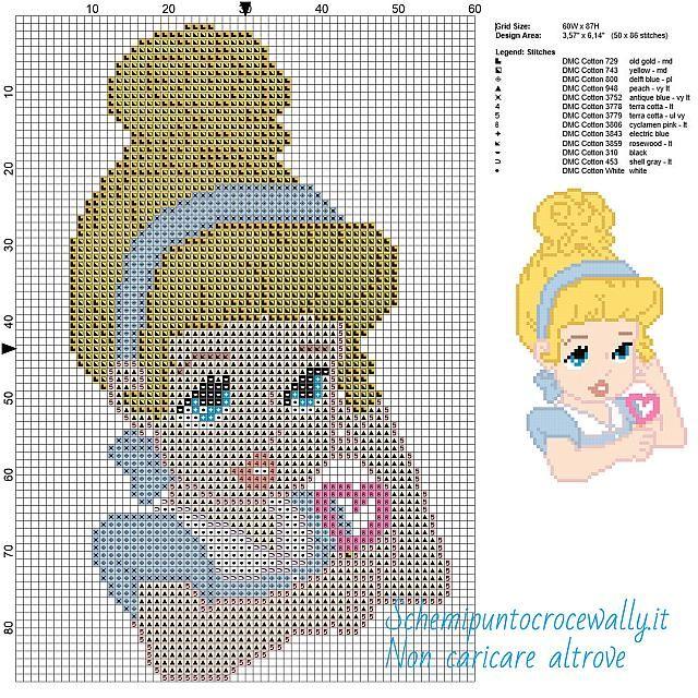 Baby Cenerentola schema Disney gratis a punto croce 60x87 13 colori