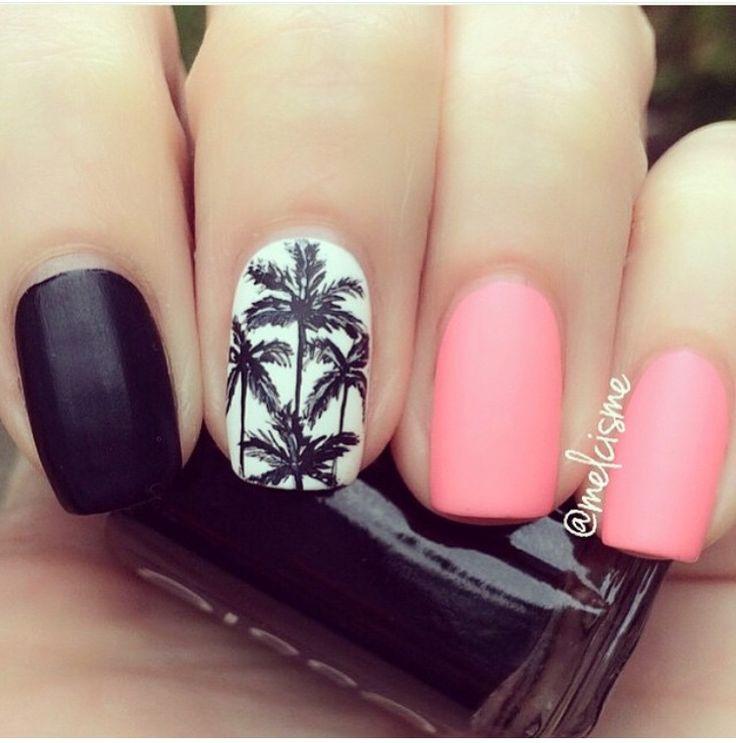 ..pink, black and white palm tree nail art..