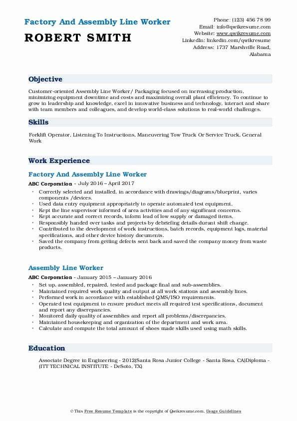 Assembly Line Worker Resume Objective Fresh Assembly Line Worker Resume Samples In 2020 Resume Objective Relationship Building Skills Job Resume Samples