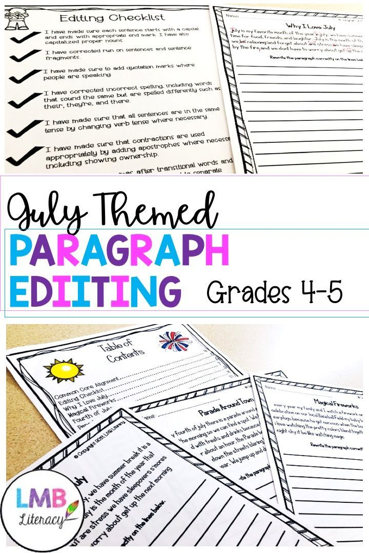 July Writing Paragraph Editing Worksheets For Grades 4 5 Teaching Writing Paragraph Writing Improve Reading Comprehension Paragraph editing worksheets grade 4