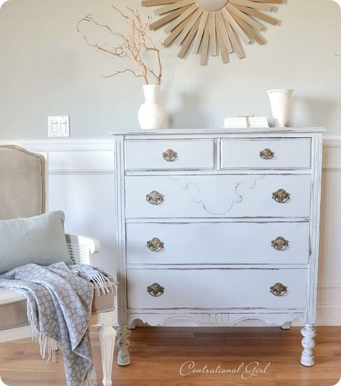 Chalk Paint-no priming needed, easily distresses with a light sanding. Doing this to our nightstands soon!!!!