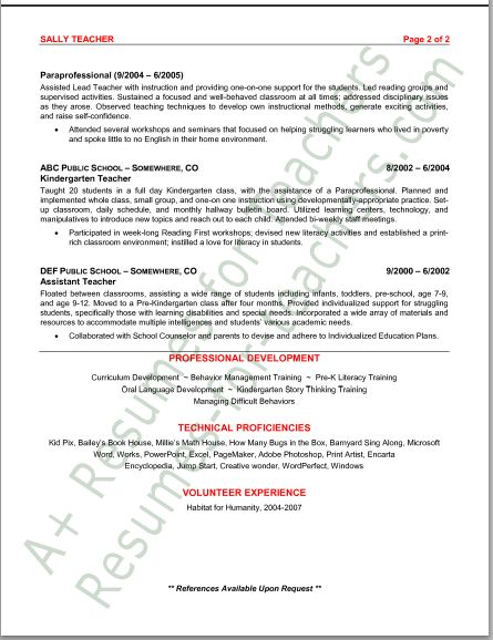 Preschool Resume Examples Education And Training Resumes