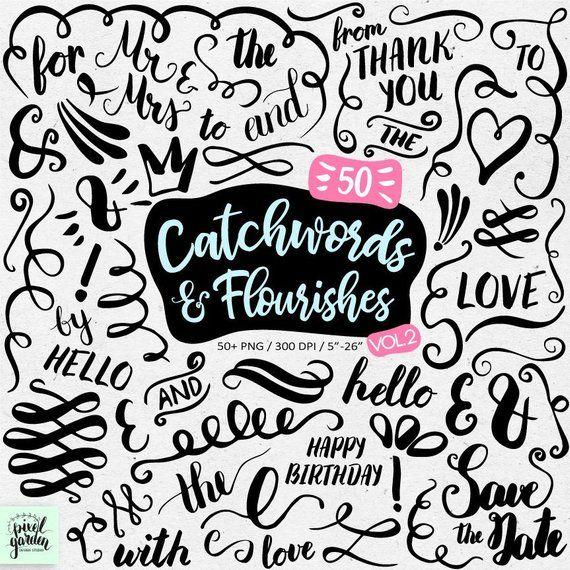 Hand Lettering Catchwords Symbols Phrases Flourishes Swirls
